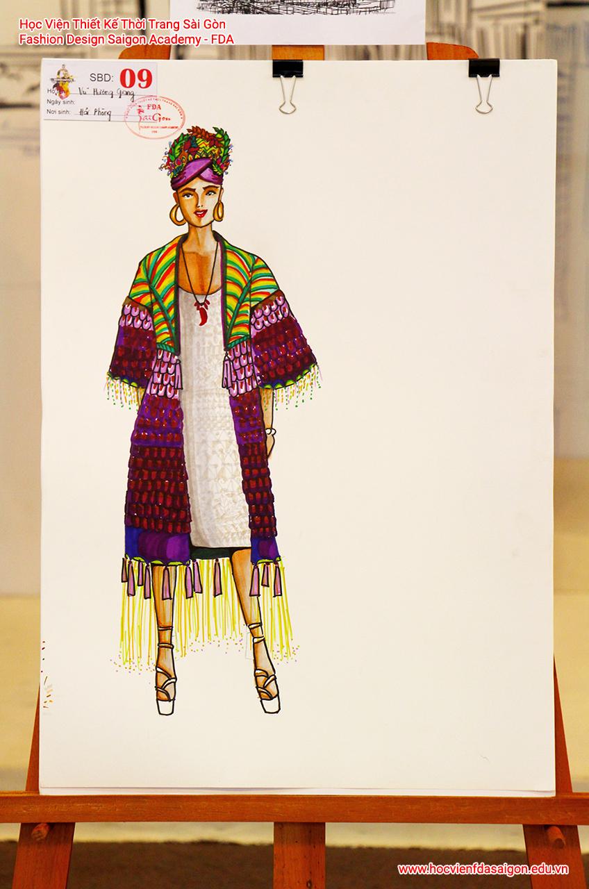 Bản vẽ phác thảo thời trang của thí sinh Vũ Hương Giang đến từ TP HCM