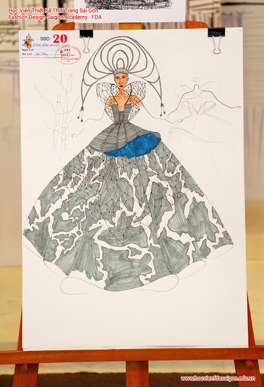 Bản vẽ phác thảo thời trang của thí sinh Dương Hồng Nguyên đến từ Bình Thạnh, TP HCM