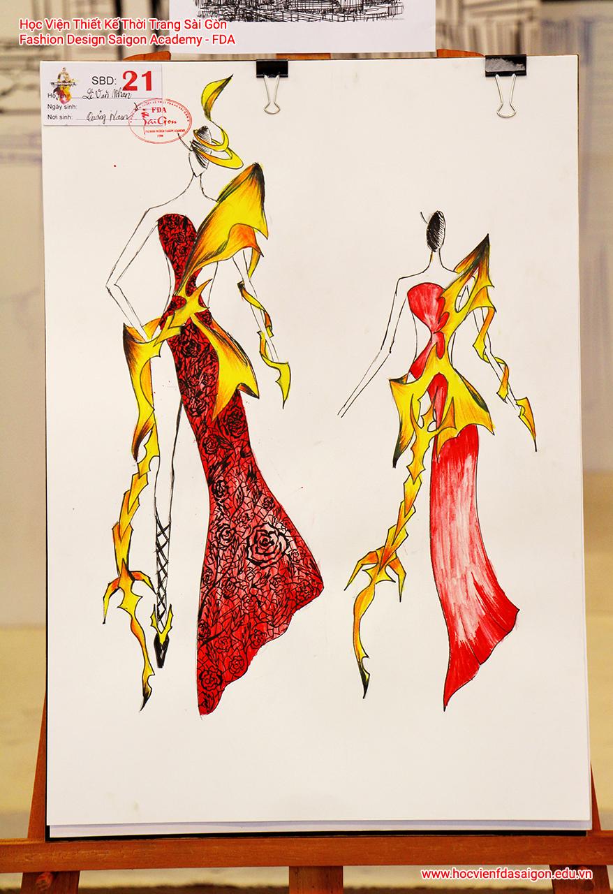 Bản vẽ phác thảo thời trang của thí sinh Lê Văn Nhân đến từ TP HCM
