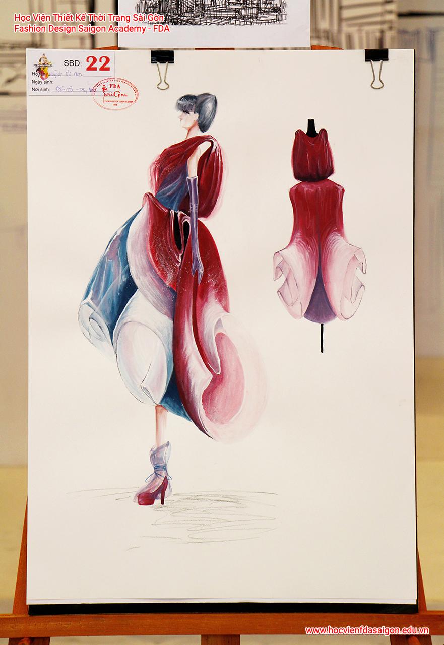 Bản vẽ phác thảo thời trang của thí sinh Huỳnh Thị Non đến từ Quận 8, TP HCM
