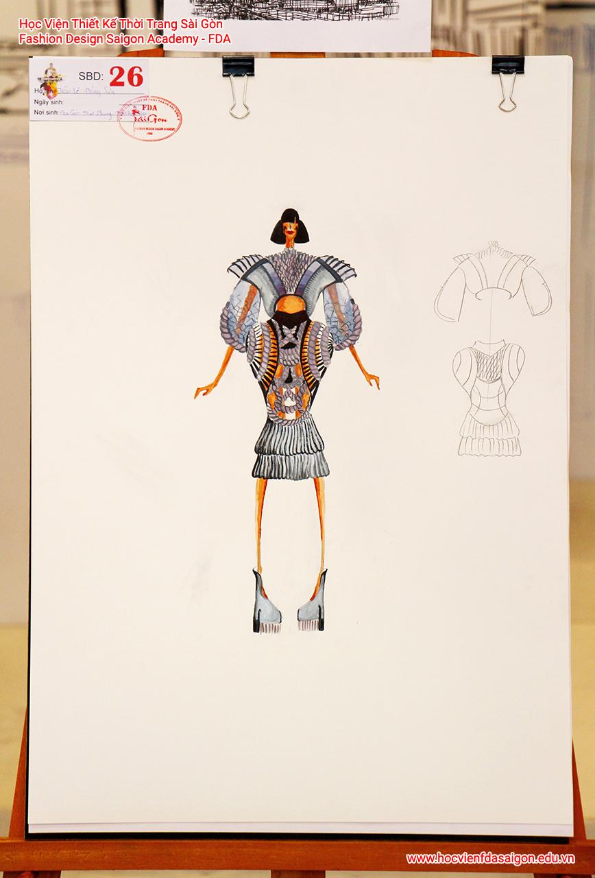 Bản vẽ phác thảo thời trang của thí sinh Trần Lê Đông Sơn đến từ Khánh Hoà