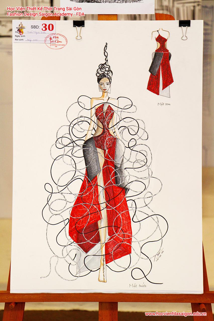 Bản vẽ phác thảo thời trang của thí sinh Trần Ngọc Trân đến từ Quận 1, TP HCM