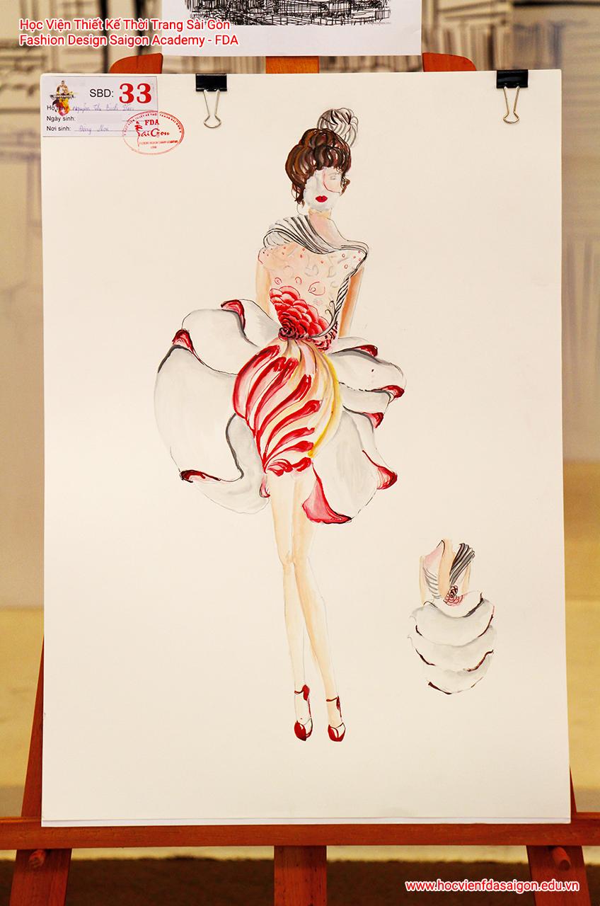 Bản vẽ phác thảo thời trang của thí sinh Nguyễn Thị Bích Viện đến từ TP HCM