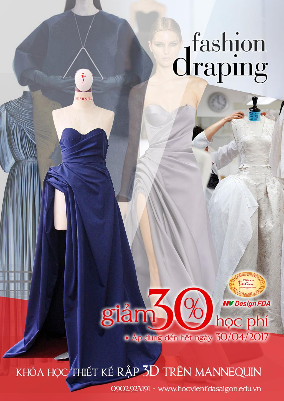 Fashion draping thiết kế rập 3d trên manocanh