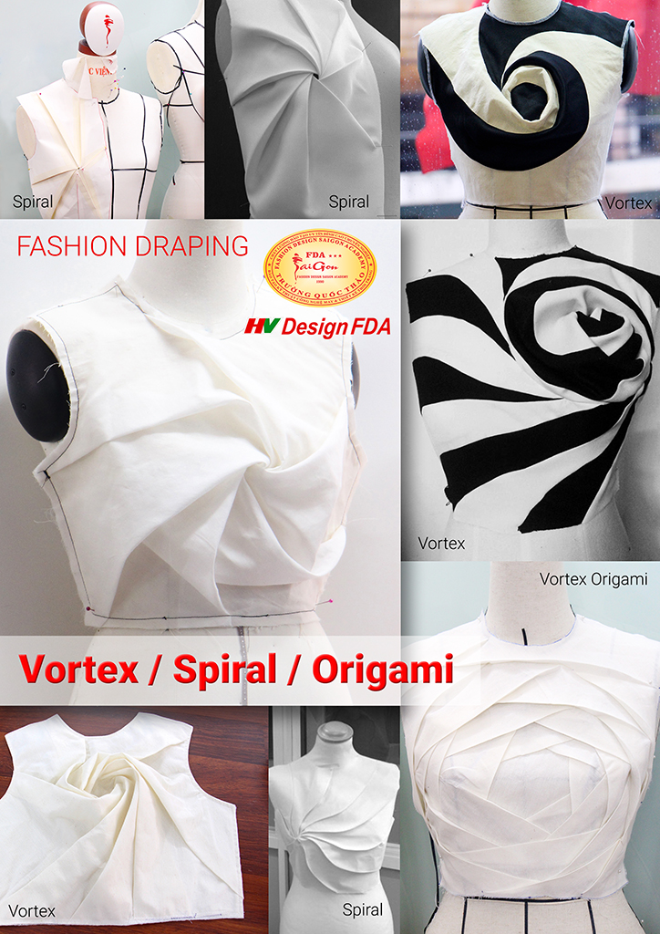 Spiral Vortex Origami draping & TR cutting