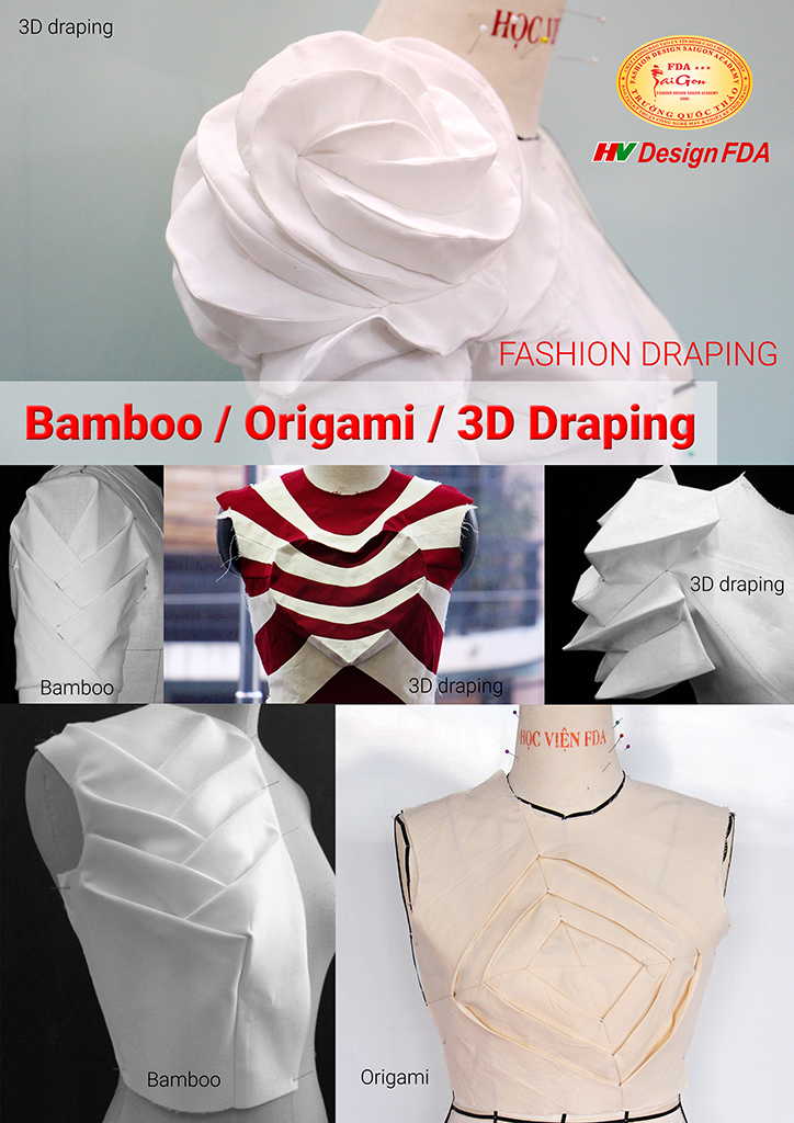 Draping 3d origami bamboo fashion trcutting