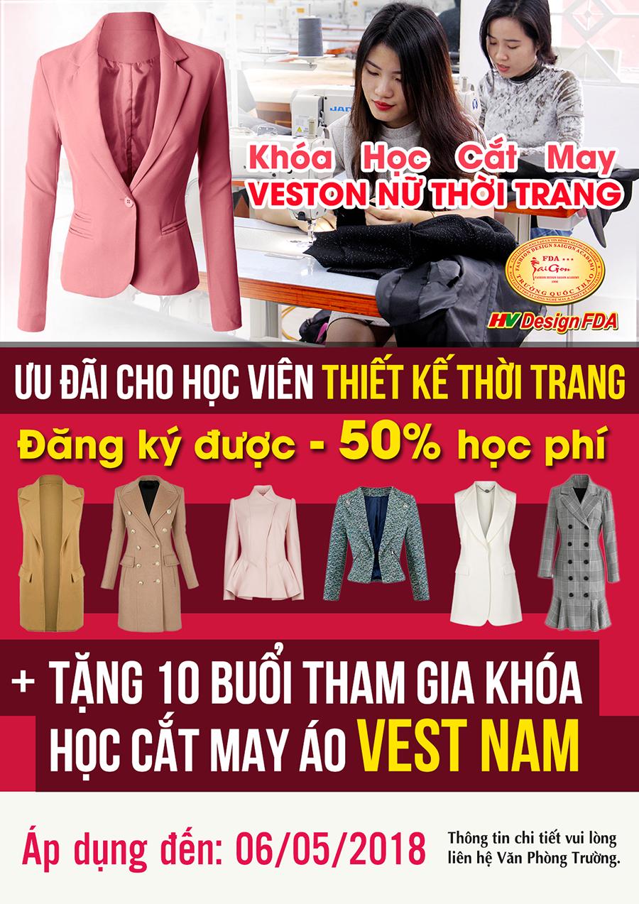 Khóa học Chuyên Vest Nữ được Ưu đãi 50% dành cho học viên Thiết kế thời trang