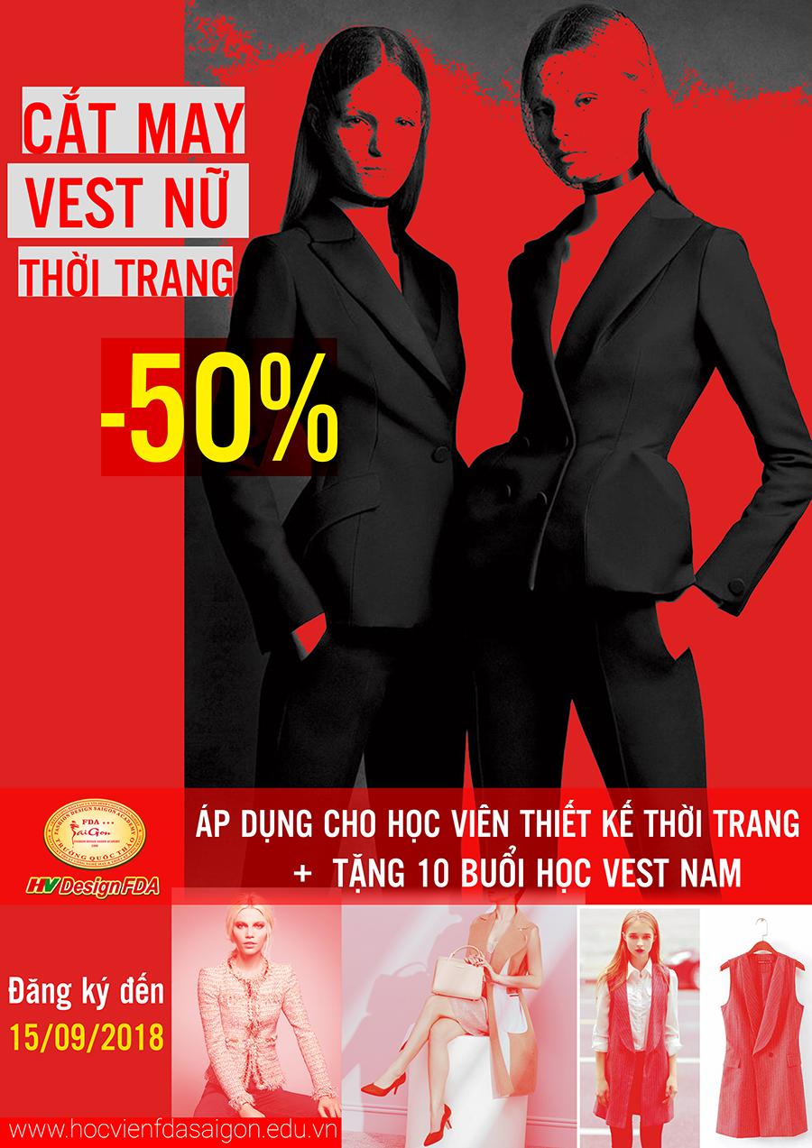 Khóa học cắt may Vest nữ thời trang ưu đãi 50% học phí