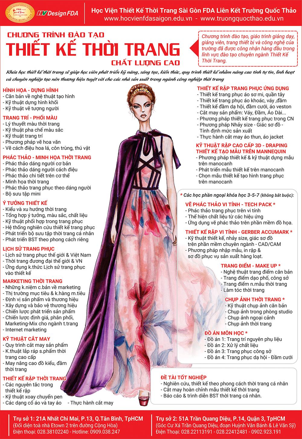 Chương trình đào tạo chuyên ngành thiết kế thời trang 2019