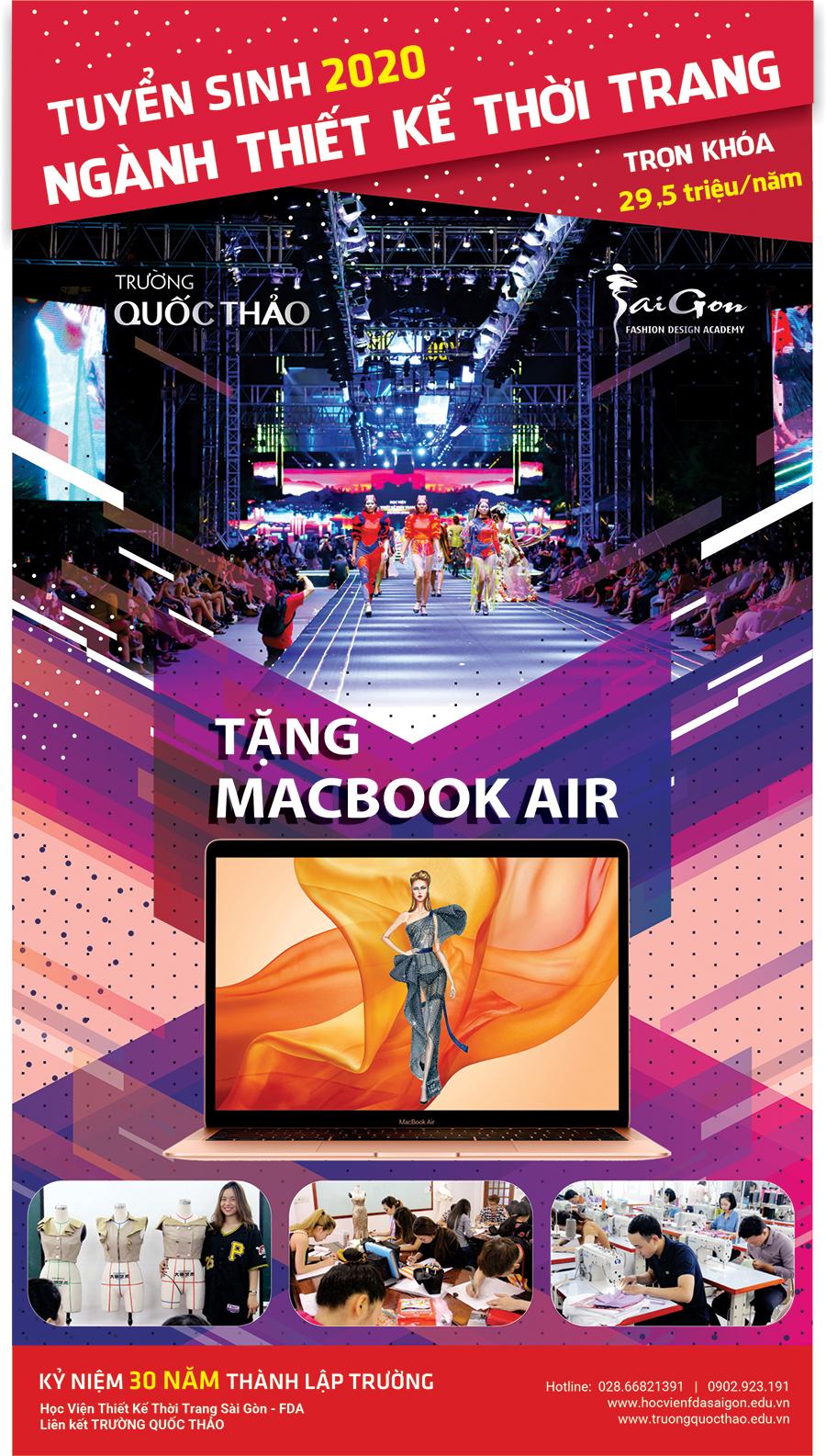 Tuyển sinh 2019 ngành thiết kế thời trang đợt 1 Tặng Macbook Air