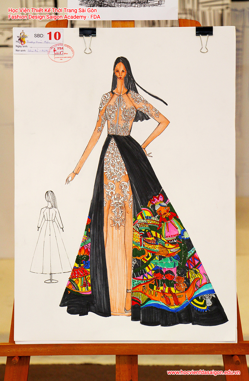 Bản vẽ phác thảo thời trang của thí sinh Trương Hoài Hận đến từ TP HCM