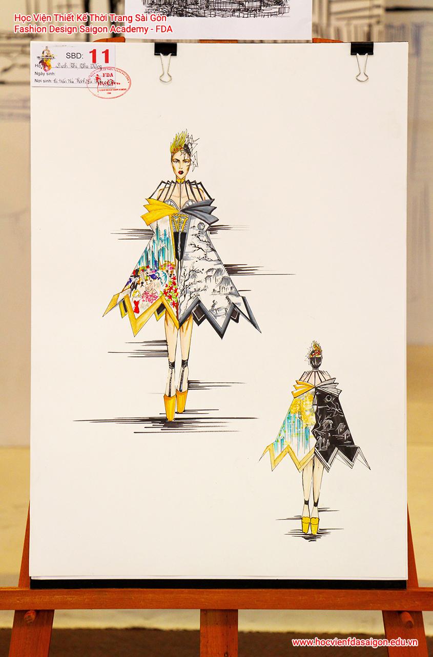 Bản vẽ phác thảo thời trang của thí sinh Đinh Thu Hằng đến từ Quảng Nam