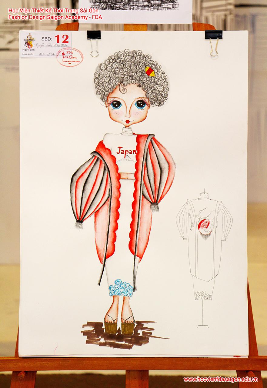 Bản vẽ phác thảo thời trang của thí sinh Nguyễn Thị Thu Hiền đến từ Bắc Ninh