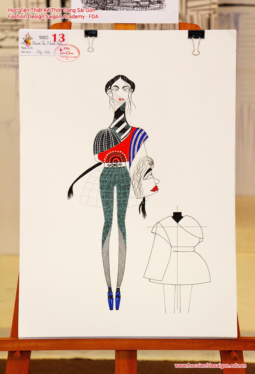 Bản vẽ phác thảo thời trang của thí sinh Phạm Thị Minh Hiền đến từ Nhà Bè, TP HCM