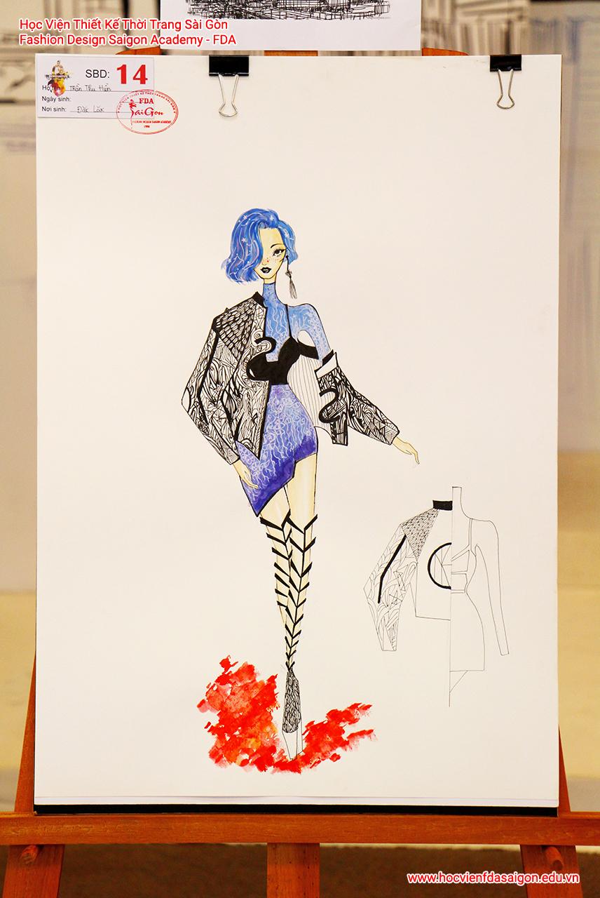 Bản vẽ phác thảo thời trang của thí sinh Trần Thu Hiền đến từ Đăk Lăk
