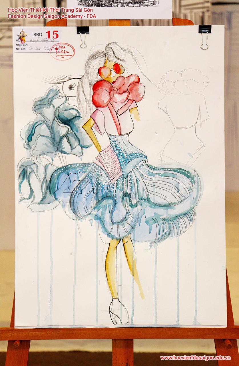 Bản vẽ phác thảo thời trang của thí sinh Huỳnh Đông Hồ đến từ Quận 12, TP HCM - Giải Khuyến Khích