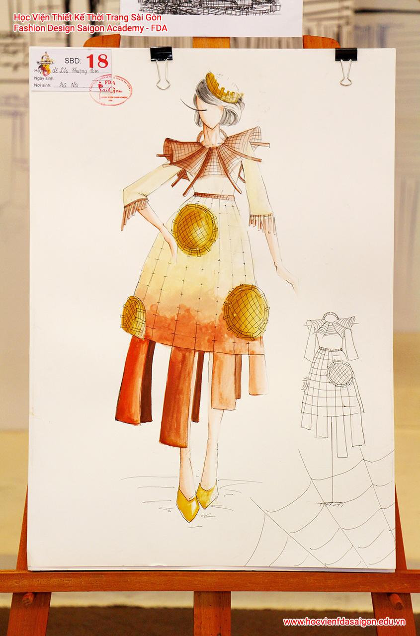 Bản vẽ phác thảo thời trang của thí sinh Lê Thị Phương Lan đến từ Hà Nội