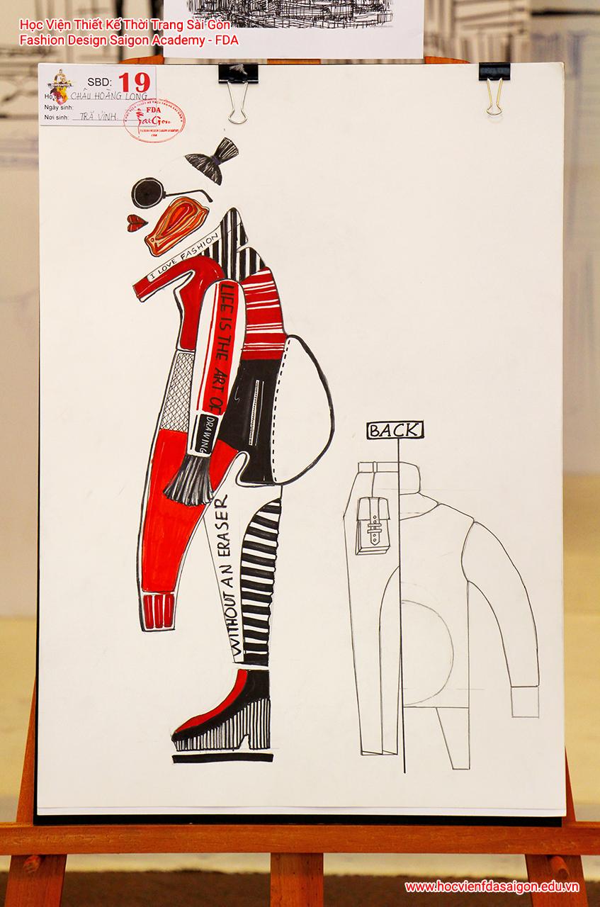 Bản vẽ phác thảo thời trang của thí sinh Châu Hoàng Long đến từ Trà Vinh - Giải Khuyến Khích