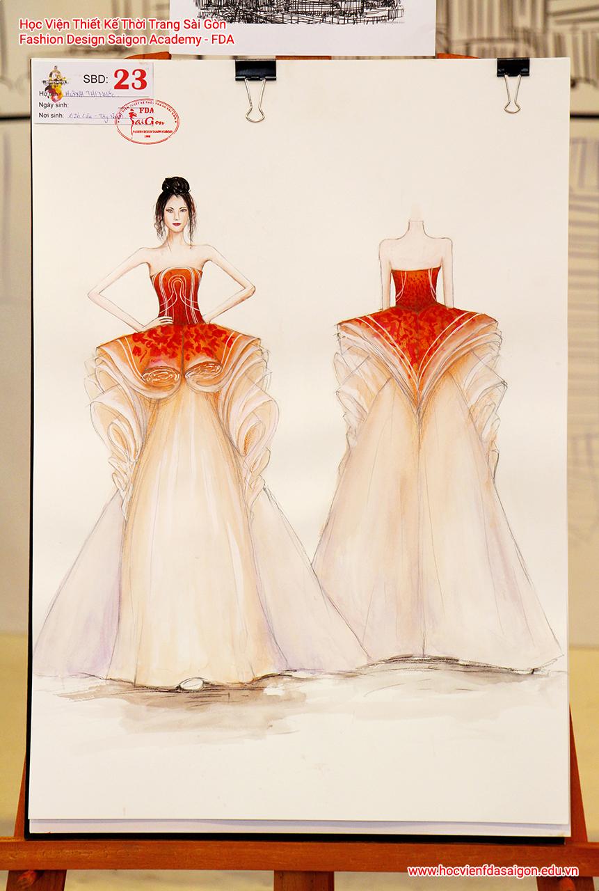 Bản vẽ phác thảo thời trang của thí sinh Huỳnh Thị Nước đến từ Tây Ninh