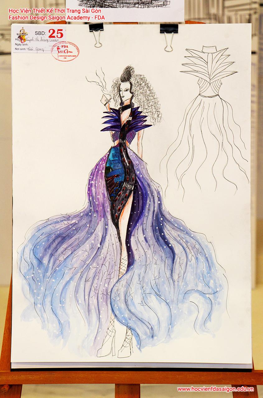 Bản vẽ phác thảo thời trang của thí sinh Huỳnh Thị Hoàng Quân đến từ Gò Vấp, TP HCM