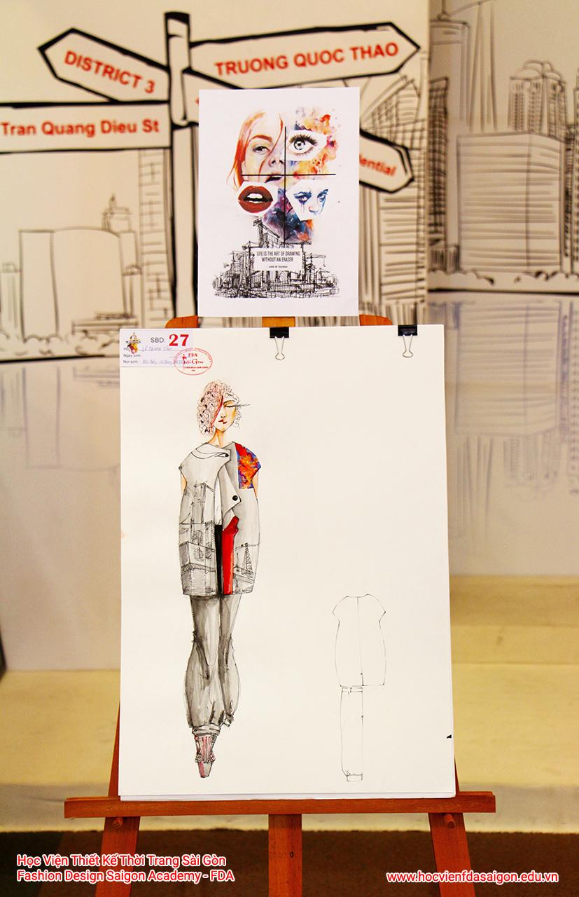 Bản vẽ phác thảo thời trang của thí sinh Lê Thanh Tâm đến từ Hà Tĩnh - Giải Nhất