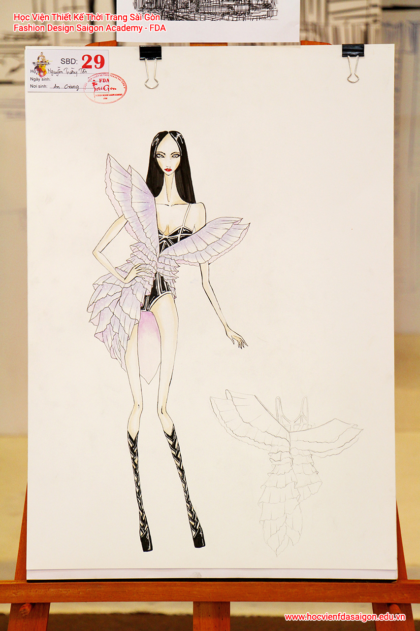 Bản vẽ phác thảo thời trang của thí sinh Nguyễn Trường Tồn đến từ An Giang