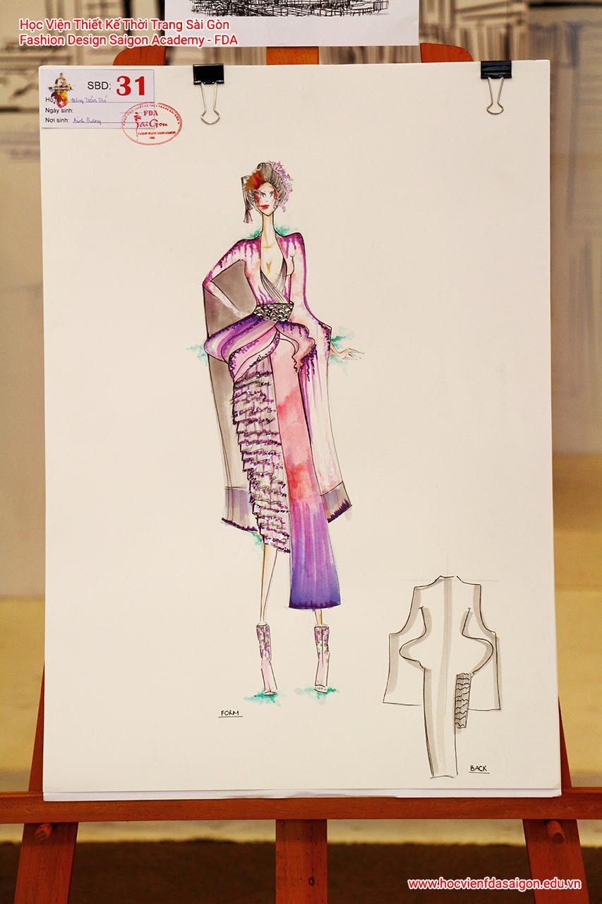 Bản vẽ phác thảo thời trang của thí sinh Đặng Trần Trí đến từ Bình Dương